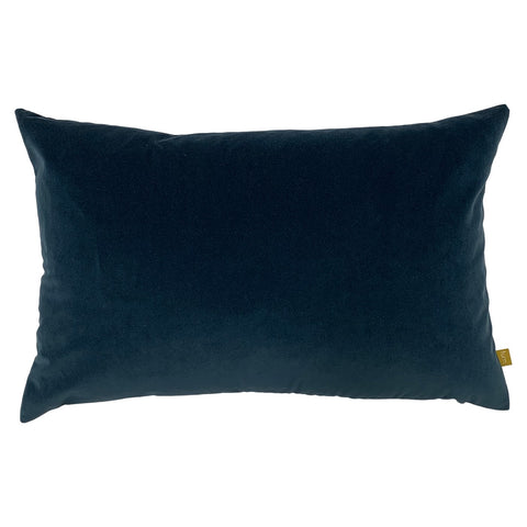 Slate Blue Velvet Rectangle Cushion with Linen Back