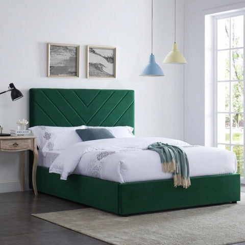 Emerald Green Chevron Velvet Bed With Wooden Legs