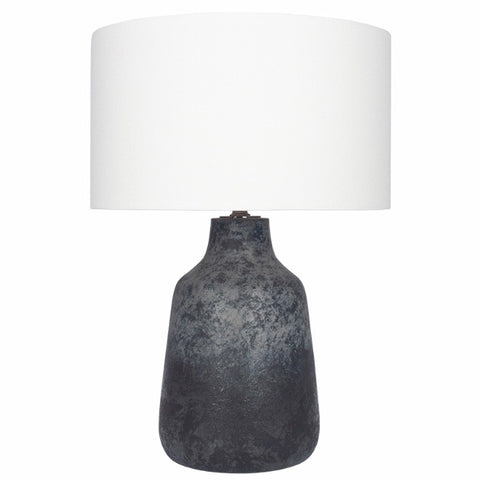 Volcanic Effect Grey Stoneware Lamp and Shade