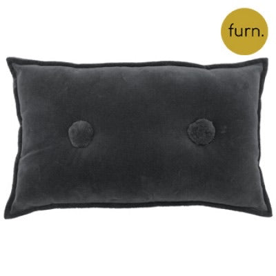 Charcoal Grey Velvet Rectangle Cushion with Pompom