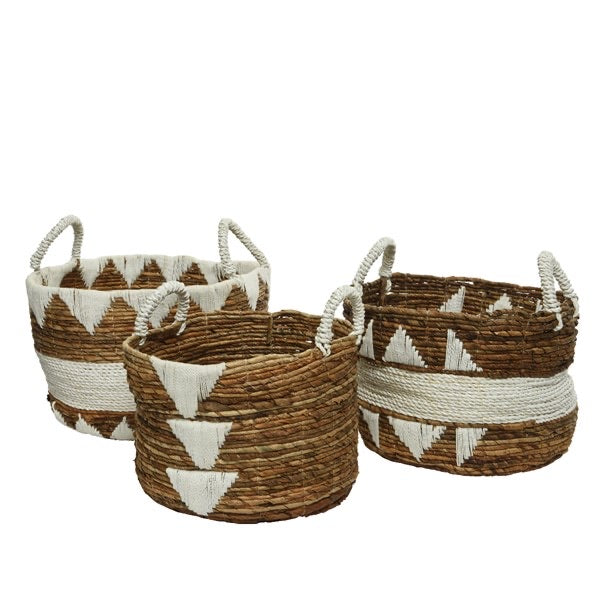 Banana Leaf Basket with Cotton Woven Design