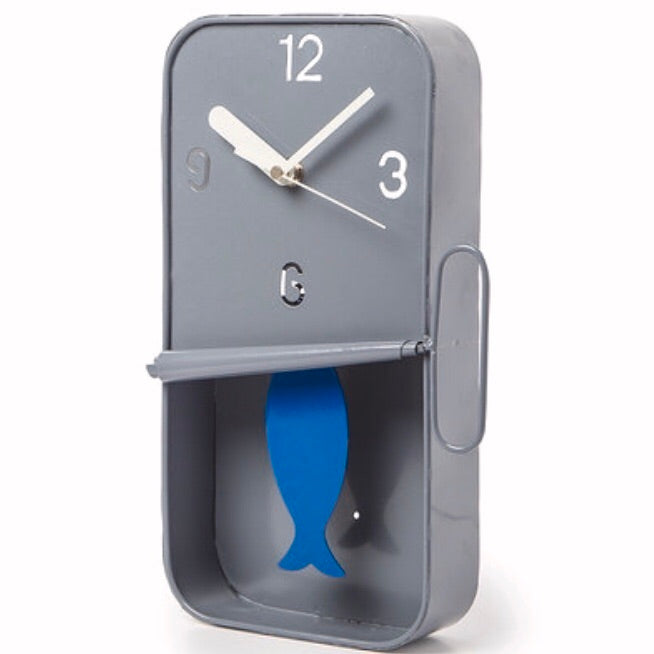 Grey Sardine Tin Wall Clock Pendulum