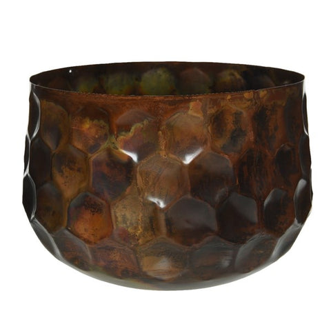 Copper Hammered Metal Plant Pot