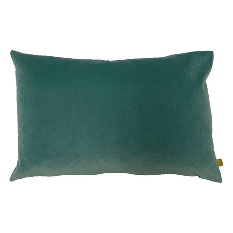 Mist Blue Velvet Rectangle Cushion with Linen Back