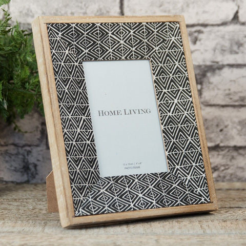 Diamond Print Monochrome Wooden Photo Frame