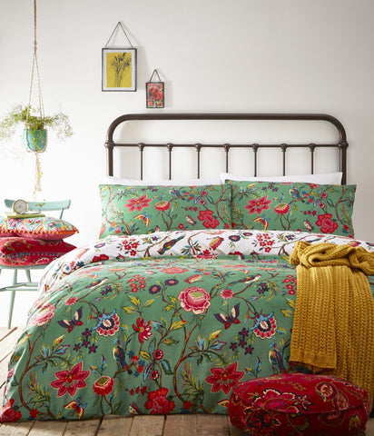 Teal Tropical Flower Print Cotton Bedding