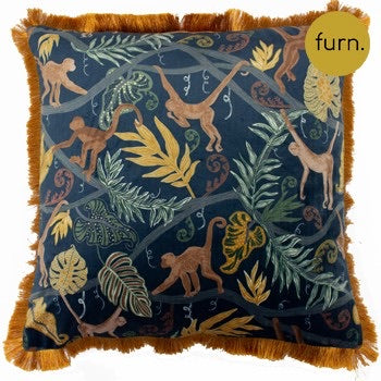 Monkey Jungle Midnight Blue Print Cushion with Fringe