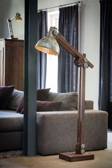 Dark Wood Industrial Floor Lamp