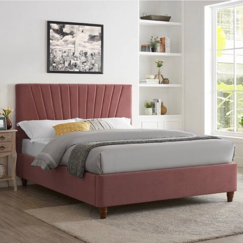 Blush Pink Scallop Velvet Bed With Wooden Legs