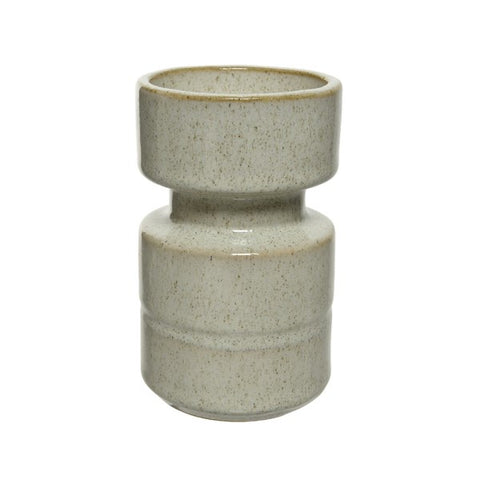Short White Stone Candle Holder