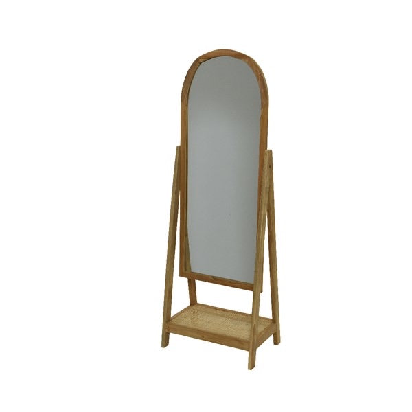 Teak Wood Floor Length Mirror