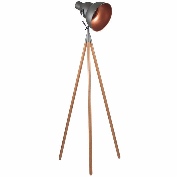 Copper & Slate Grey Tripod Floor Lamp with Bamboo Legs