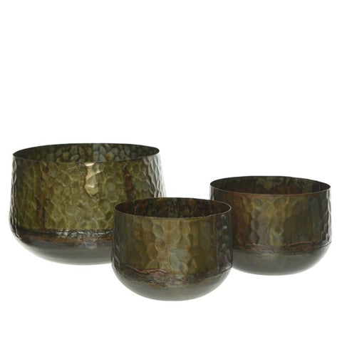 Moss Green Hammered Metal Plant Pot