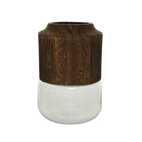Large Glass Vase with Burnt Wood