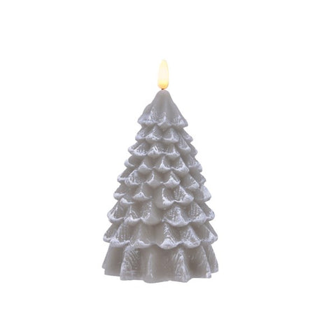 Large Grey LED Wax Tree Candle