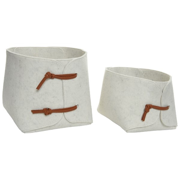Set of 2 Natural Felt Baskets with Leather Ties