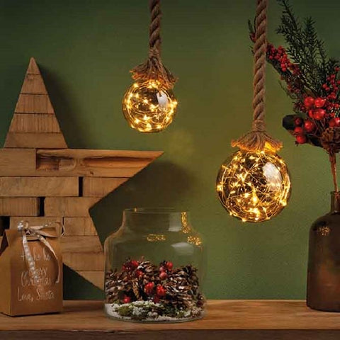 LED Giant Smokey Grey Glass Ball on Rope with Lights