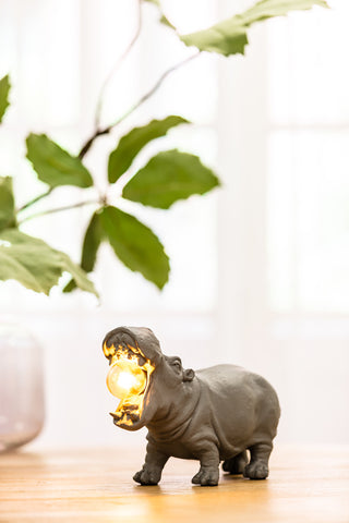 Medium Grey Hippo Lamp