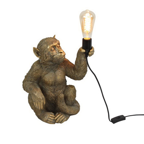 Charlie the Sitting Monkey Lamp in Gold