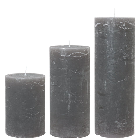 Large Anthracite Charcoal Rustic Pillar Candle