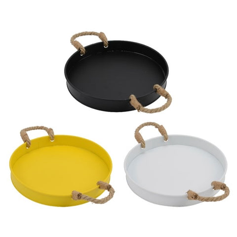 Iron Serving Tray with Jute Rope Handles