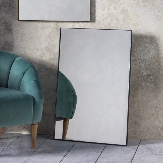Black Contemporary Edge Rectangle Mirror