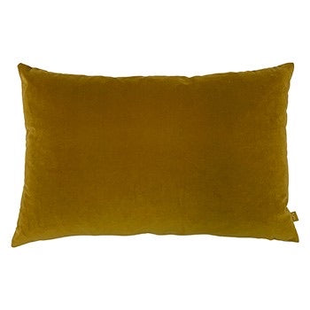 Mustard Velvet Rectangle Cushion with Linen Back