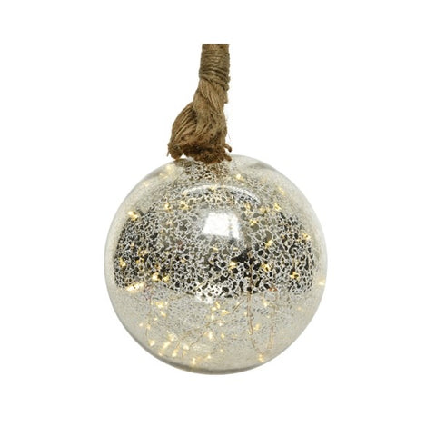Large Silver Glass Ball on Rope with LED Lights