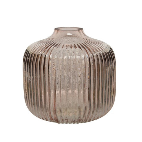 Blush Pink Ribbed Glass Vase
