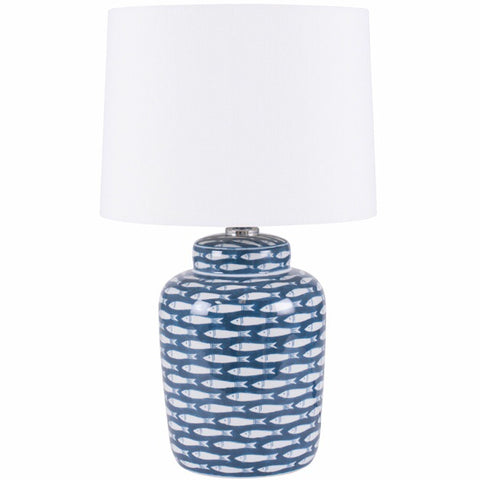 Blue & White Ceramic Fish Lamp and Shade