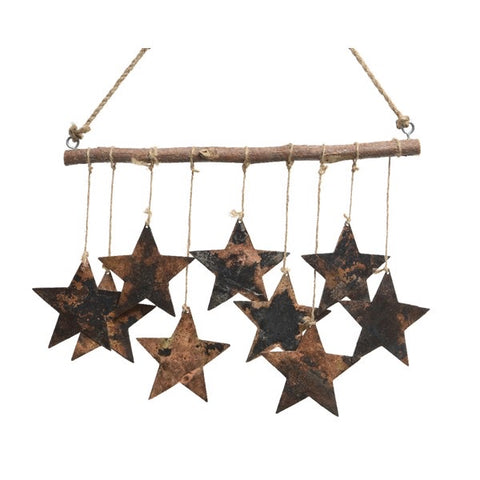 Rustic Copper Hanging Stars on Driftwood