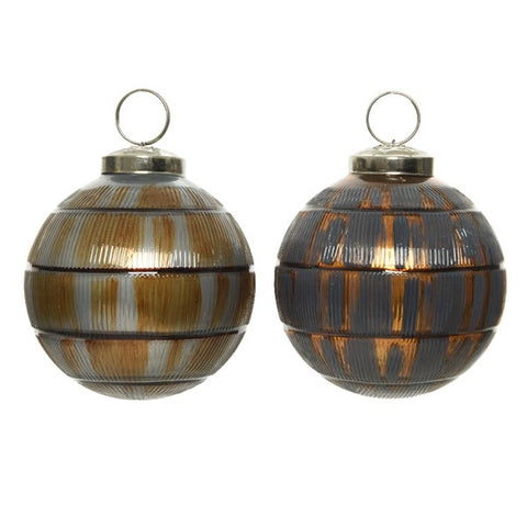7.5cm Glass Bauble with Copper Stripe