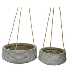 Stone Taupe Etched Hanging Concrete Clay Fibre Planter