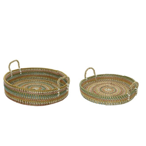 Natural Rainbow Seagrass Tray with Handles