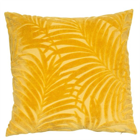 Mustard Yellow Fern Tufted Velvet Cushion