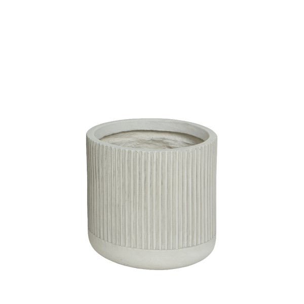 Off-White Round Ribbed Stone Planter