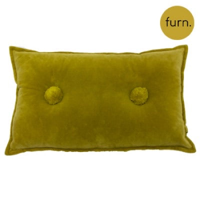 Ochre Velvet Rectangle Cushion with Pompom