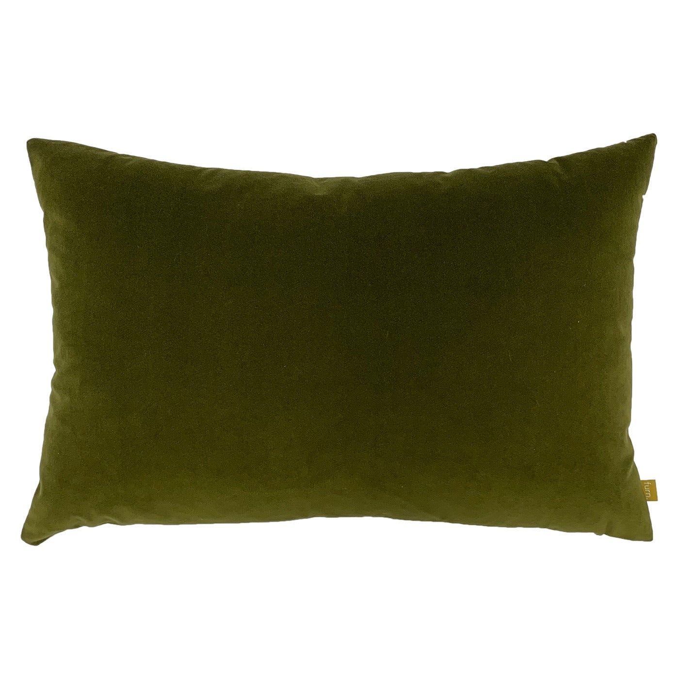 Olive Green Velvet Rectangle Cushion with Linen Back