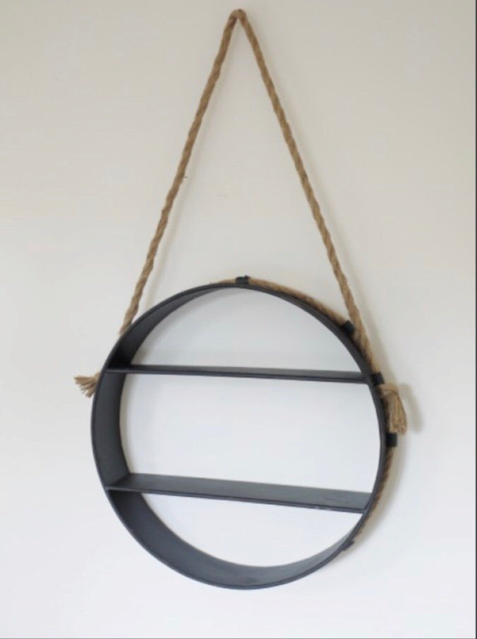 Round Hanging Shelving Unit with Rope Handle