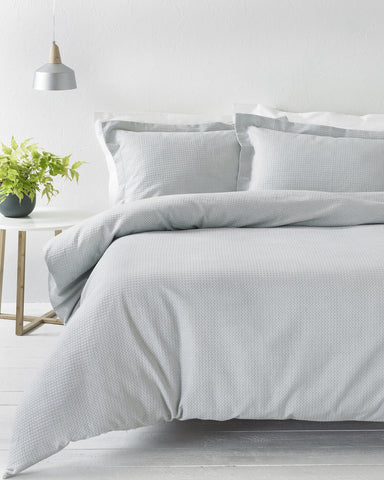 Grey Waffle Textured Cotton Bedding