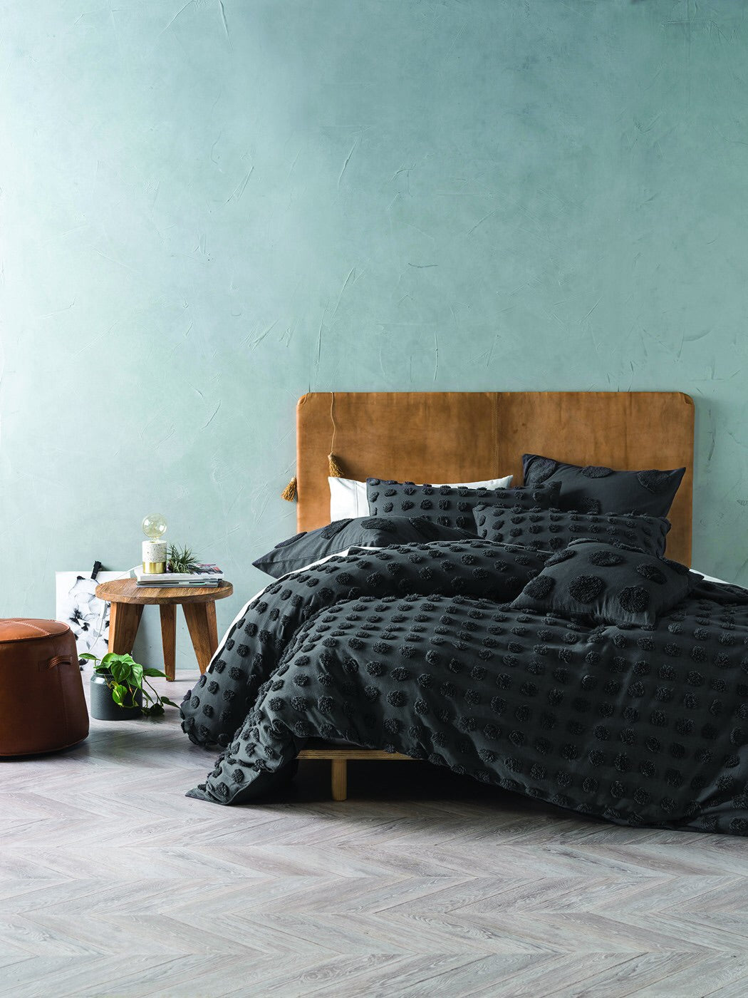 Linen House Haze Charcoal Cotton Fluffy Spot Duvet Set Bedding