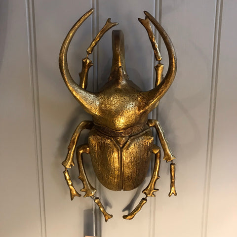Extra Large Gold Bull Beetle Wall Decor