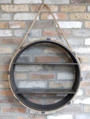 Large Round Wall Shelving Unit with Mesh Back and Rope Hanger
