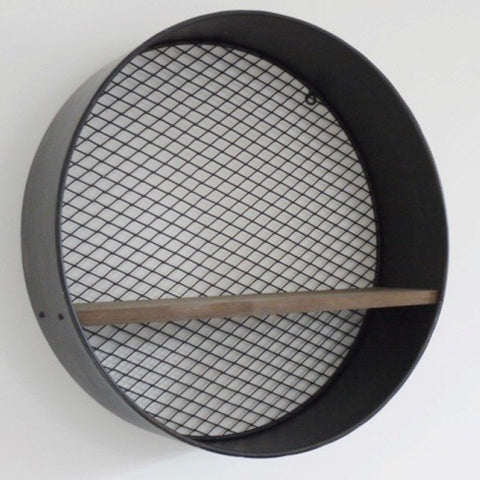 Round Metal Wall Shelf with Mesh Back