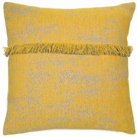 Mustard Textured Cushion with Fringe Trim