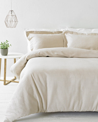 Blush Waffle Textured Cotton Bedding