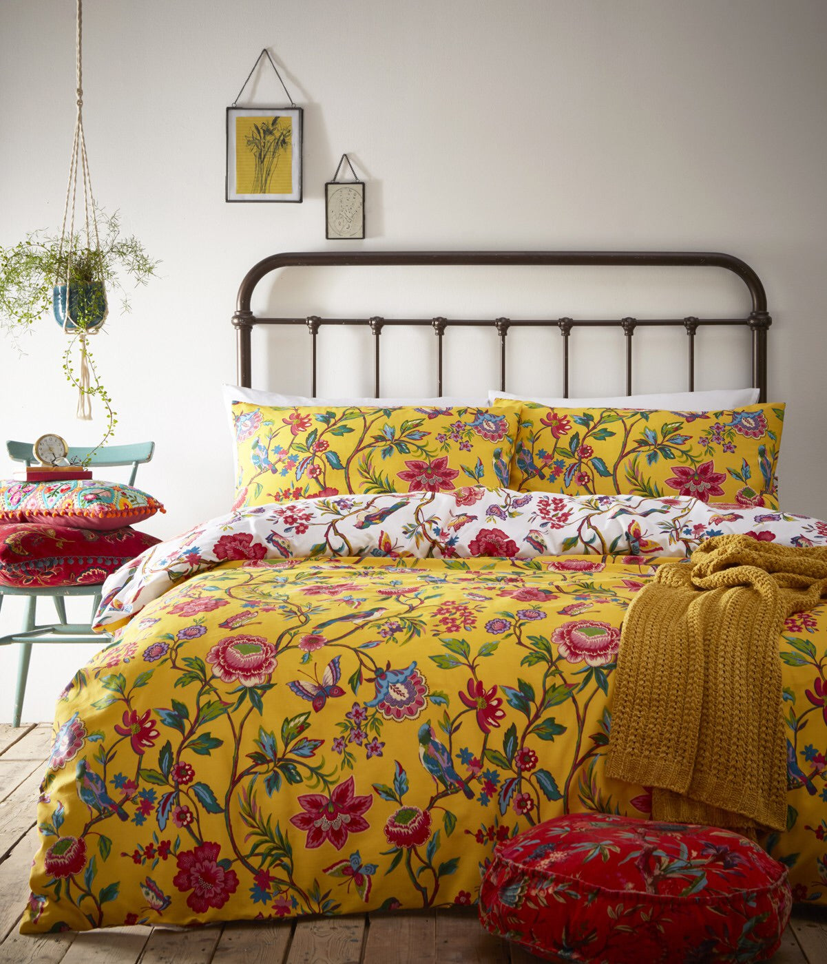 Mustard Tropical Flower Print Cotton Bedding