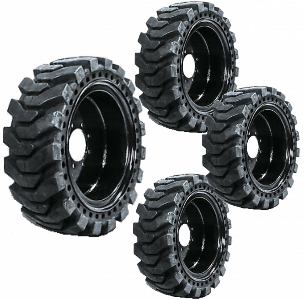 Set of 4 Solid Skid Steer Tires Fits Gehl 8 Lug Flat Proof 10X16.5