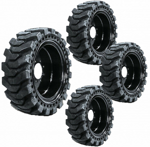 Set of 4 Solid Skid Steer Tires Fits New Holland 8 Lug Flat Proof 12X16.5