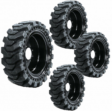 Set of 4 Solid Skid Steer Tires Fits New Holland 8 Lug Flat Proof 10X16.5